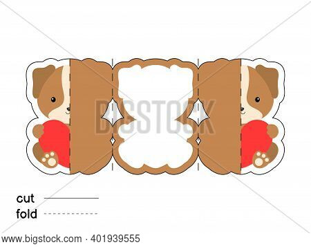 Cute Dog Hold Heart. Fold Long Greeting Card Template. Great For St. Valentine Day, Birthdays, Baby