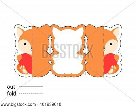 Cute Fox Hold Heart. Fold Long Greeting Card Template. Great For St. Valentine Day, Birthdays, Baby