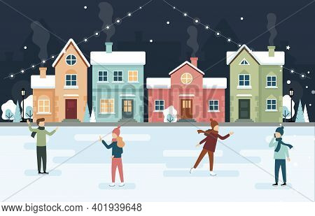 Winter Holidays Ice Skating Vector Illustration In Cartoon Flat Style. Composition With People Spend