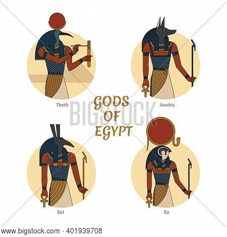 Illustration Of The Gods And Symbols Of Ancient Egypt Isolated Against The Background Of The Scarab