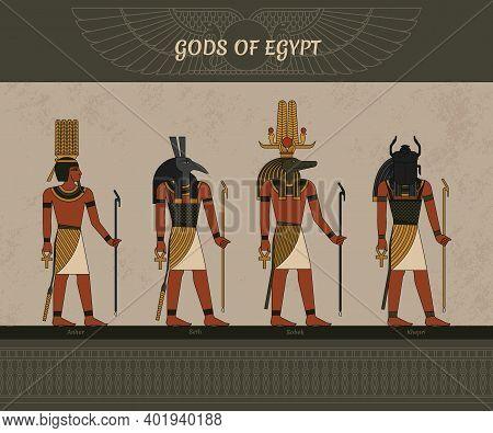Symbols Of Ancient Egypt Egyptian Winged Sun, Gods Thoth, Anhur, Sobek, Khepri, And Other Symbol Of