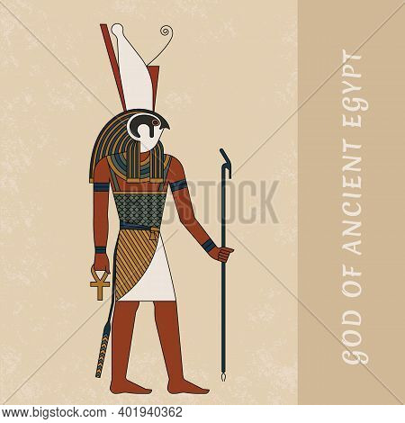 Ancient Art By The Ancient Egyptian God Horus. Colored Vector Drawing Of The God Horus Against The B