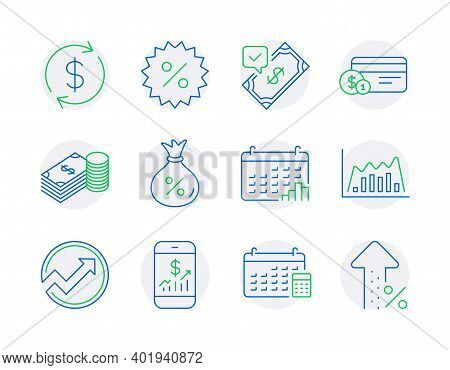 Finance Icons Set. Included Icon As Mobile Finance, Savings, Infographic Graph Signs. Calendar, Acce