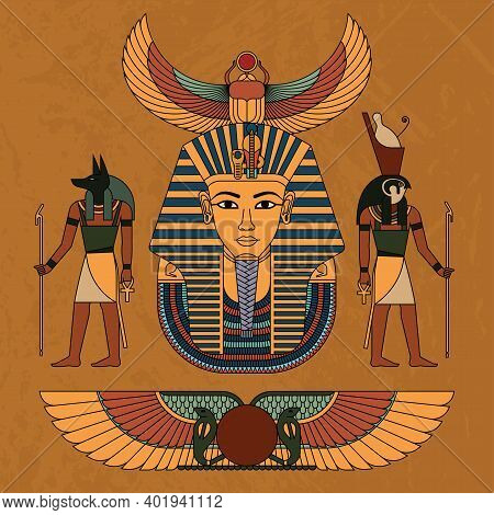 Vector Illustration Symbols Of Ancient Egypt Egyptian Winged Sun, Gods Anubis And Horus, And Pharaoh