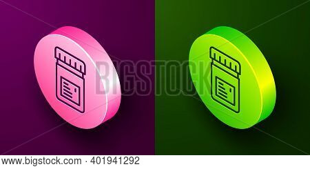 Isometric Line Biologically Active Additives Icon Isolated On Purple And Green Background. Circle Bu
