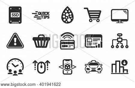 Meeting Time, Web Report And Contactless Payment Icons Simple Set. Decreasing Graph, Shop Cart And A