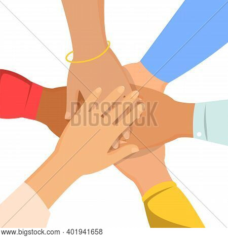 Group Of People Hold Hand Together Vector Isolated. Concept Of Teamwork And Partnership. Unity And C