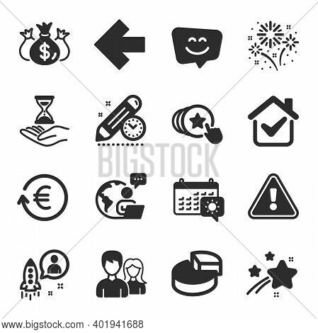 Set Of Business Icons, Such As Pie Chart, Exchange Currency, Smile Face Symbols. Fireworks, Time Hou