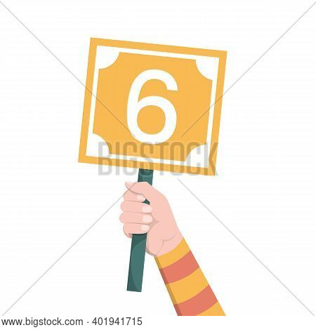 Hand Holding Scorecard With Number 6 Vector Isolated