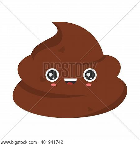 Funny Smiling Poop Character Isolated. Stinky Poo