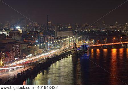 Kyiv, Ukraine-january 02,2021:scenic Aerial View Of Kyiv During Night. Night Lights Landscape Of Anc
