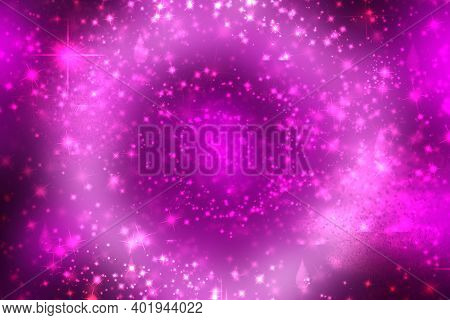 Abstract Scene In Universe. Abstract Gradient Dark Violet To Light Pink Purple Space Cosmos Universe