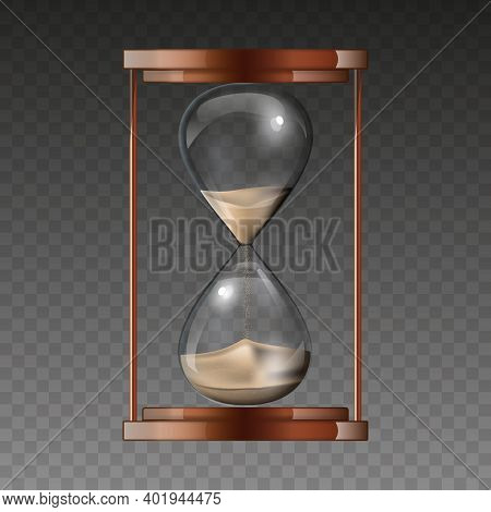 Hourglass Isolated On Transparent Background. An Hourglass Is A Device For Measuring Hours And Minut