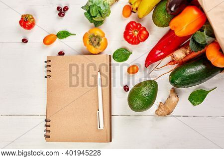 Flat Lay Paper Shopping Bag Fresh Vegetables And Fruits, Shopping List Food Supermarket Concept