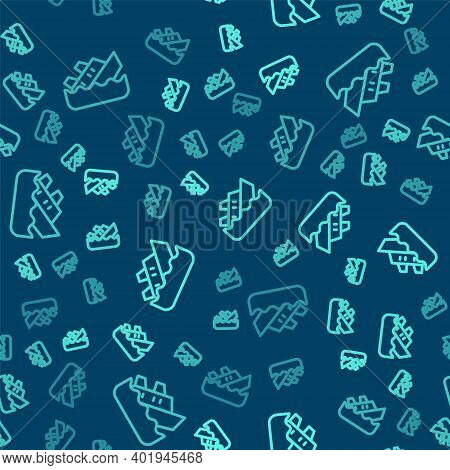 Green Line Sinking Cruise Ship Icon Isolated Seamless Pattern On Blue Background. Travel Tourism Nau