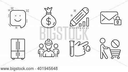 Money Bag, Smile And Edit Statistics Line Icons Set. Refrigerator, Stop Shopping And Engineering Tea