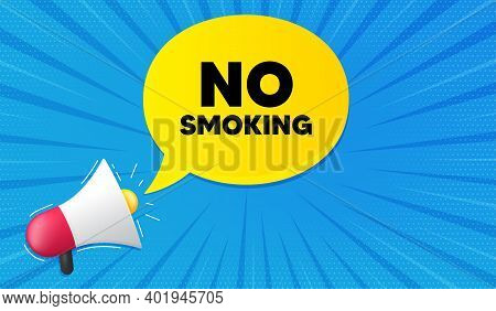 No Smoking Banner. Background With Megaphone. Stop Smoke Sign. Smoking Ban Symbol. Megaphone Banner.