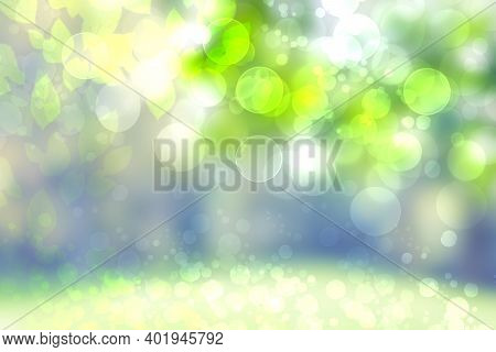 Hello Spring Background. Abstract Bright Spring Or Summer Landscape Texture With Natural Blue Bokeh