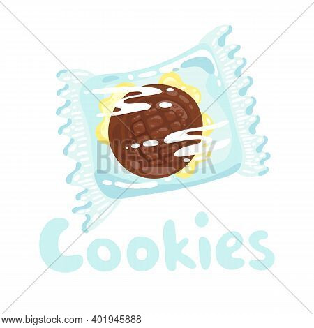 Sweet Cookie Stock Illustration. Cookies With Chocolate In Plastic Wrap Clipart. Vector Object On Wh