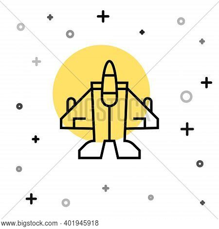 Black Line Jet Fighter Icon Isolated On White Background. Military Aircraft. Random Dynamic Shapes.