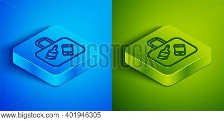Isometric Line Suitcase For Travel Icon Isolated On Blue And Green Background. Traveling Baggage Sig