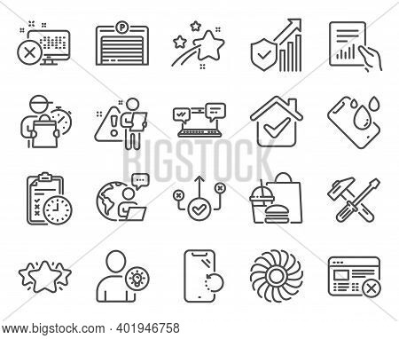 Technology Icons Set. Included Icon As Smartphone Waterproof, User Idea, Internet Chat Signs. Star,