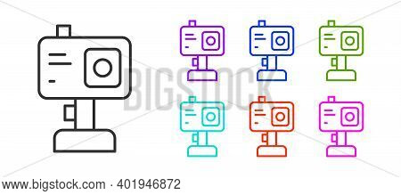 Black Line Action Extreme Camera Icon Isolated On White Background. Video Camera Equipment For Filmi