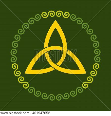 Orange Colored Celtic Triangle Knot Within A Circle Frame, Shaped By Green Double Spirals, On A Moss