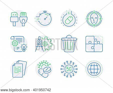 Science Icons Set. Included Icon As Documents, Puzzle, Face Detect Signs. Capsule Pill, Computer Cab