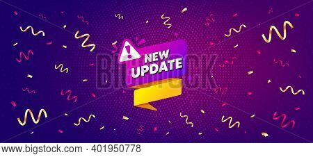 New Update Paper Banner. Festive Confetti Background With Offer Message. Important Message Tag. Excl