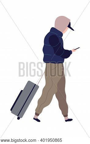 Traveling Man With Suitcase. Cartoon Male Character In Airport Terminal With Bag And Smartphone. Pas