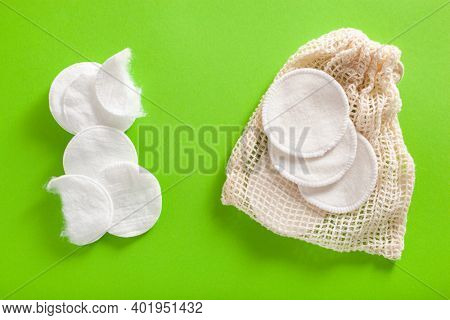 zero waste eco friendly hygiene bathroom concept. single use and reusable washable cotton pads