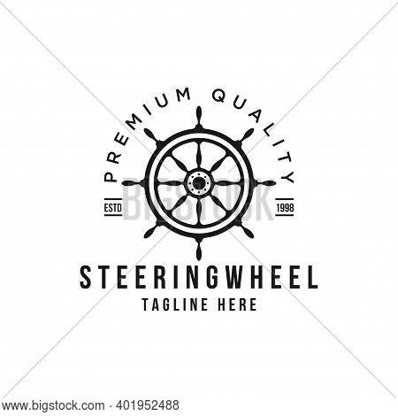 Marine Retro Emblems Steering Wheel Vector Logo Design Template