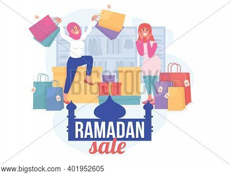 Ramadan Sale Flat Concept Vector Illustration. Special Holiday Offer For Shopping. Retail Promo. Hap