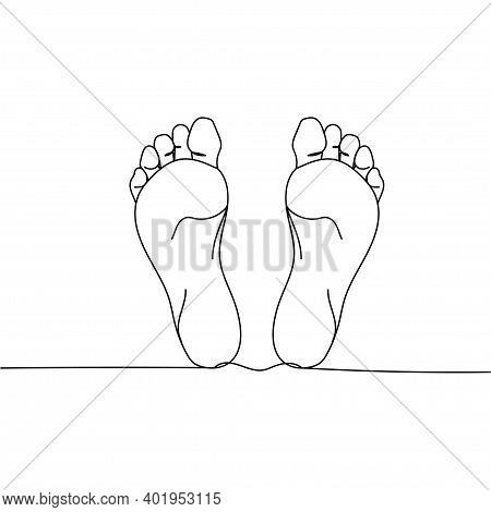 Continuous One Line Drawing Naked Flat Foot. Vector Illustration Perfect For Greeting Cards, Party I