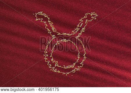 Taurus Zodiac Sign, Horoscope Astrology Background, Taurus Horoscope Symbol, Red Background, Gold Ho