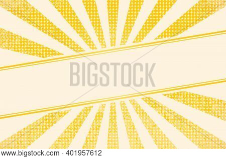 Horizontal Vector Illustration Of A Grunge Background Of Yellow Color. Divergent Rays. The Simulatio