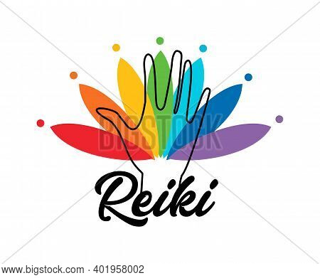 Healing Reiki Energi. Logotype. Spiritual Practice. The Colors Of The Chakras In The Healing Hand. V
