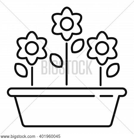 Outdoor Flower Pot Icon. Outline Outdoor Flower Pot Vector Icon For Web Design Isolated On White Bac