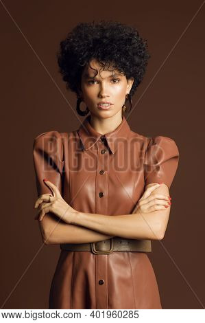 Fashionable Photo Of A Beautiful Curly-haired Female Model On A Brown Background. Model With Curly H