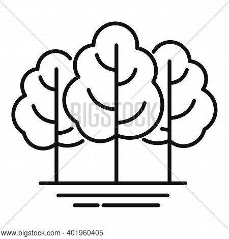 Landscape Design Trees Icon. Outline Landscape Design Trees Vector Icon For Web Design Isolated On W