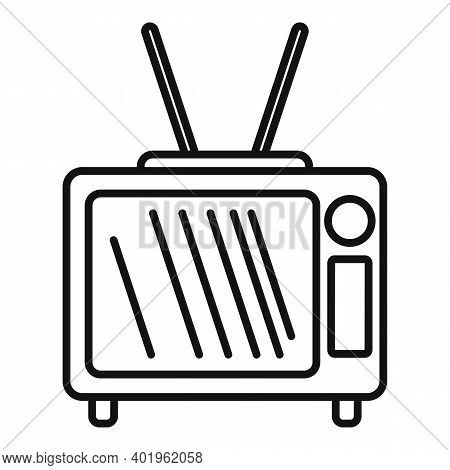Pr Tv Set Icon. Outline Pr Tv Set Vector Icon For Web Design Isolated On White Background