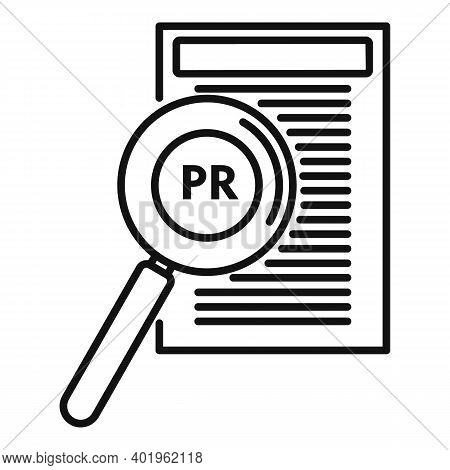 Pr Specialist Paper Icon. Outline Pr Specialist Paper Vector Icon For Web Design Isolated On White B