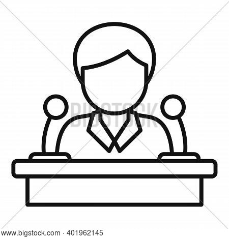 Pr Specialist Speaker Icon. Outline Pr Specialist Speaker Vector Icon For Web Design Isolated On Whi