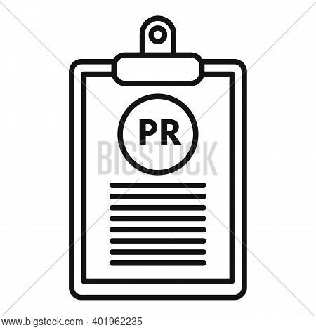 Pr Clipboard Icon. Outline Pr Clipboard Vector Icon For Web Design Isolated On White Background