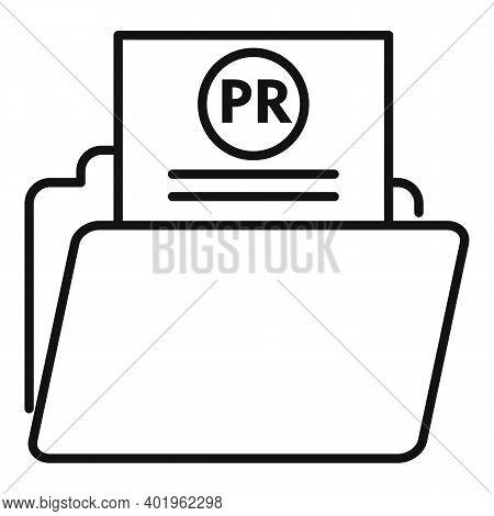 Pr Doc Folder Icon. Outline Pr Doc Folder Vector Icon For Web Design Isolated On White Background