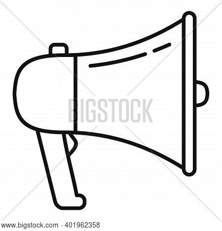 Megaphone Pr Specialist Icon. Outline Megaphone Pr Specialist Vector Icon For Web Design Isolated On