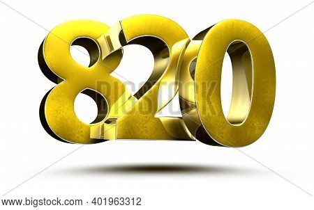 820 Numbers 3d Illustration On White Background With Clipping Path.