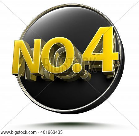 No.4 3d Rendering On White Background With Clipping Path.