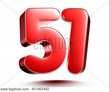 Red Numbers 51 Isolated On White Background Illustration 3d Rendering With Clipping Path.